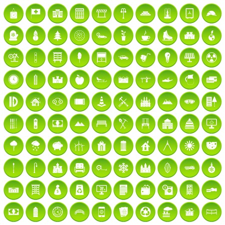 100 video icons set green circle isolated on white background vector illustration Illustration
