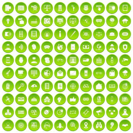 heist: 100 security icons set green circle isolated on white background vector illustration