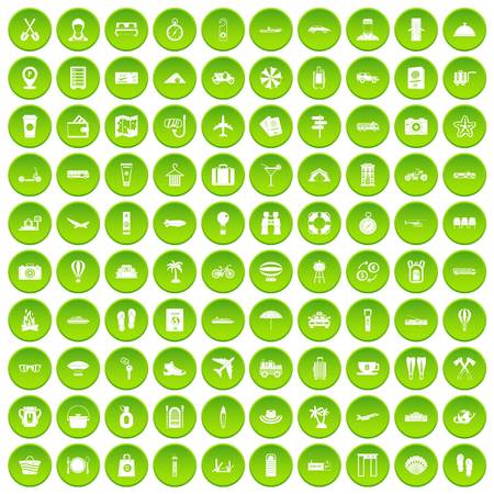 100 travel icons set green circle isolated on white background vector illustration