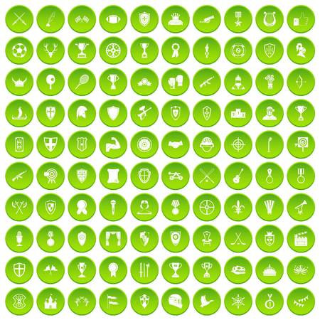100 tree icons set green circle isolated on white background vector illustration