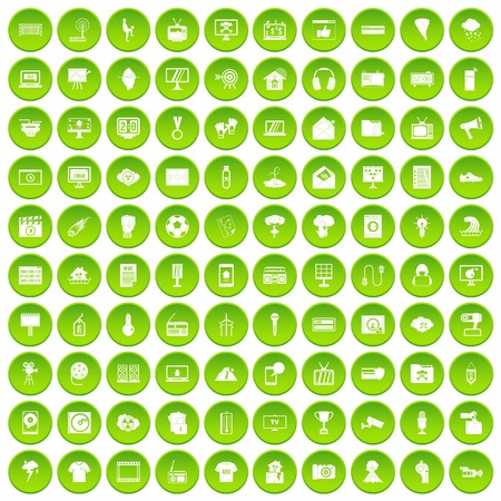 100 trophy and awards icons set green circle isolated on white background vector illustration
