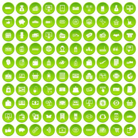 100 shopping icons set green circle isolated on white background vector illustration
