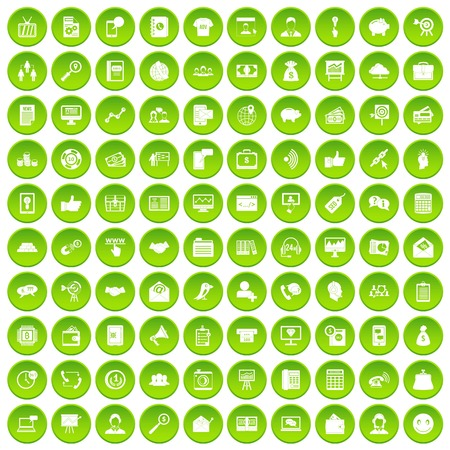 100 villa icons set green circle isolated on white background vector illustration