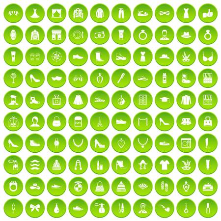 100 vitamins icons set green circle isolated on white background vector illustration Illustration