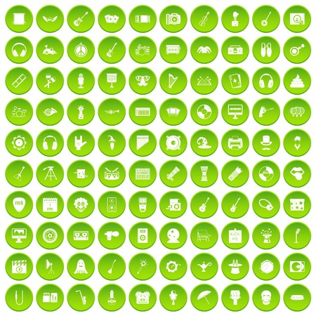 100 show business icons set green circle isolated on white background vector illustration Illustration