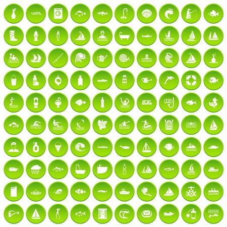 bodice: 100 war crimes icons set green circle isolated on white background vector illustration Illustration