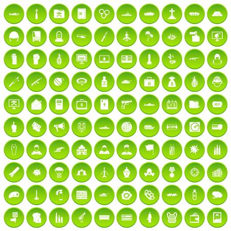 100 vogue icons set green circle isolated on white background vector illustration