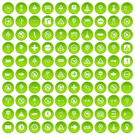 100 road signs icons set green circle isolated on white background vector illustration