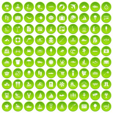 100 water icons set green circle isolated on white background vector illustration