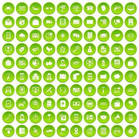 100 smartphone icons set green circle isolated on white background vector illustration
