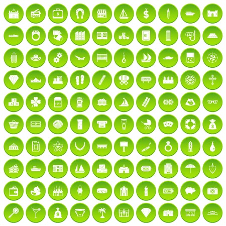 100 water sport icons set green circle isolated on white background vector illustration