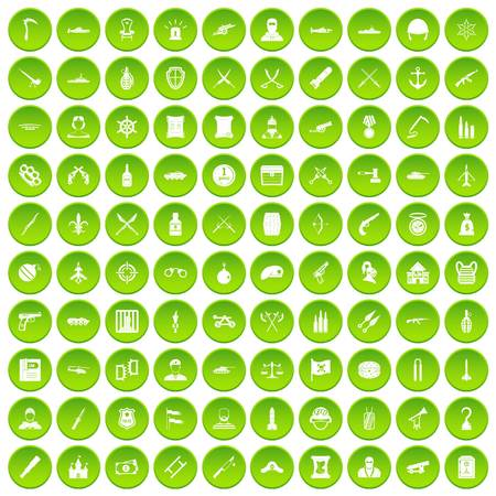 100 wealth icons set green circle isolated on white background vector illustration