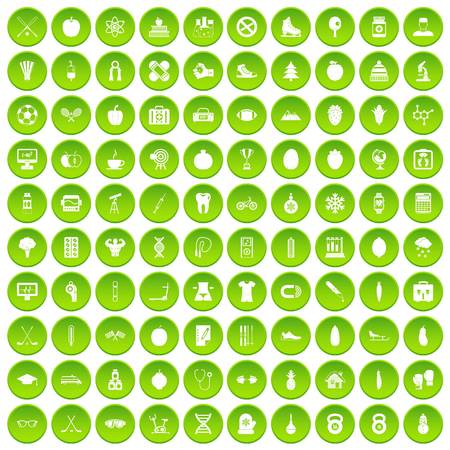 100 wellness icons set green circle isolated on white background vector illustration