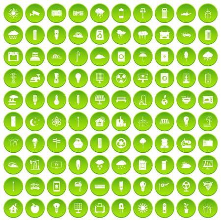 100 well person icons set green circle isolated on white background vector illustration