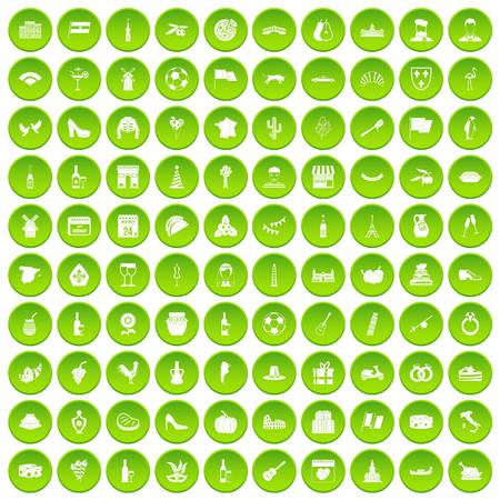 tv tower: 100 windmills icons set green circle isolated on white background vector illustration
