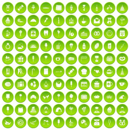 100 sweets icons set green circle isolated on white background vector illustration Illustration