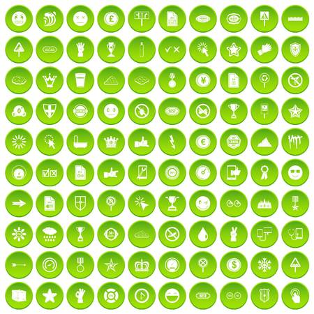 100 symbol icons set green circle isolated on white background vector illustration