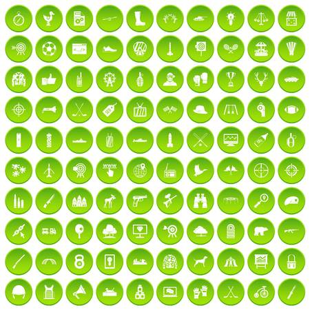 100 target icons set green circle isolated on white background vector illustration