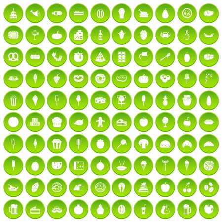 100 tasty food icons set green circle isolated on white background vector illustration