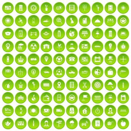 100 taxi icons set green circle isolated on white background vector illustration Ilustração Vetorial