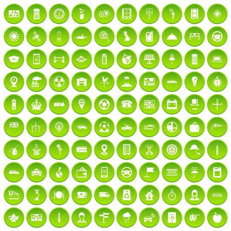 100 taxi icons set green circle isolated on white background vector illustration