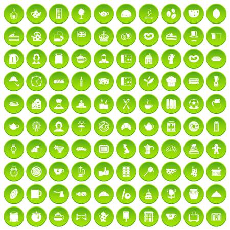 100 tea time food icons set green circle isolated on white background vector illustration Illustration