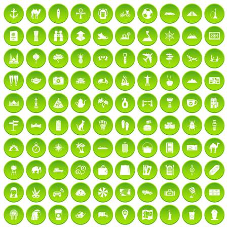 100 tourism icons set green circle isolated on white background vector illustration Illustration