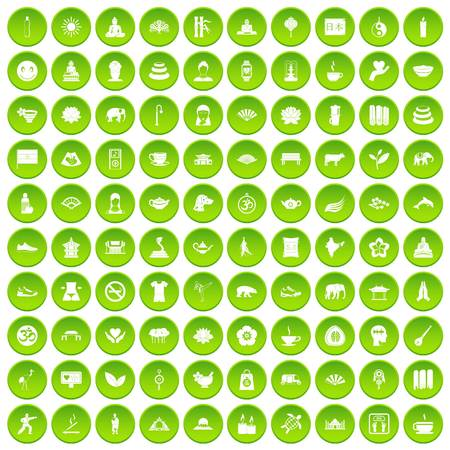 100 world tour icons set green circle isolated on white background vector illustration Illustration
