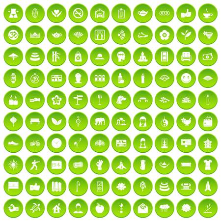100 yoga icons set green circle isolated on white background vector illustration Illustration