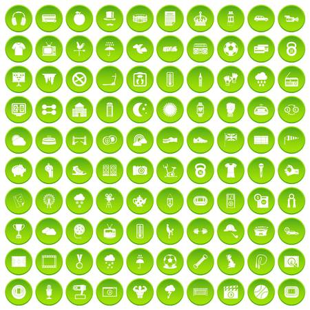 100 soccer icons set green circle isolated on white background vector illustration