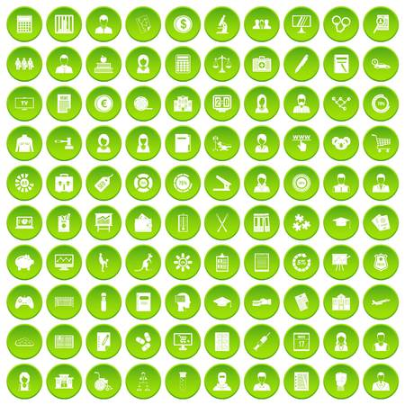 100 statistic data icons set green circle isolated on white background vector illustration 向量圖像