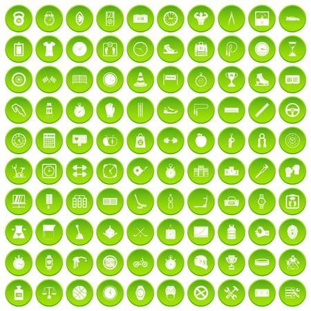 100 stopwatch icons set green circle isolated on white background vector illustration Illustration