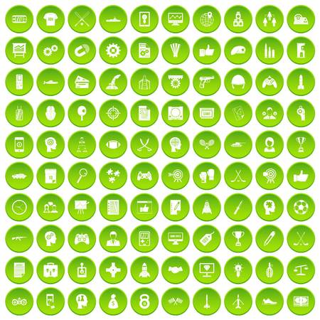 100 strategy icons set green circle isolated on white background vector illustration