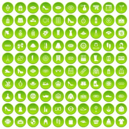 rulos: 100 iconos de mujer conjunto círculo verde aislado en la ilustración de vector de fondo blanco Vectores