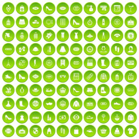 comb hair: 100 woman icons set green circle isolated on white background vector illustration