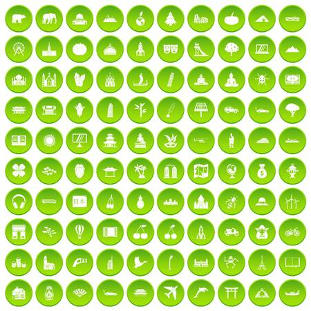 disk break: 100 work space icons set green circle isolated on white background vector illustration Illustration