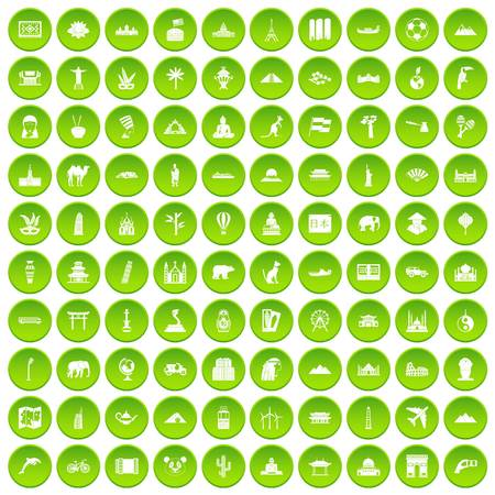 100 world icons set green circle isolated on white background vector illustration Illustration