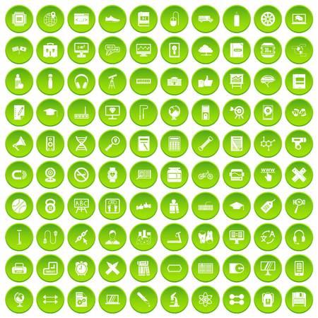 bar magnet: 100 training icons set green circle isolated on white background vector illustration Illustration