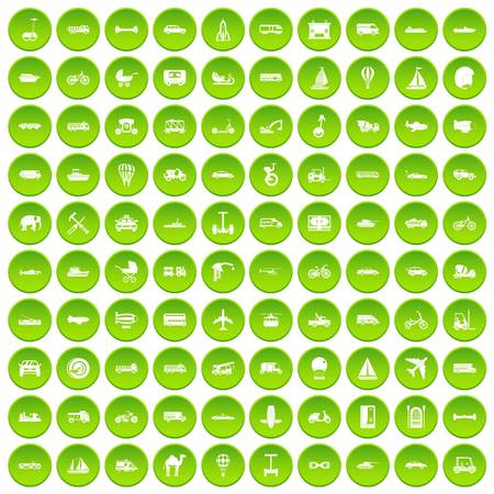 100 transport icons set green circle isolated on white background vector illustration Illustration