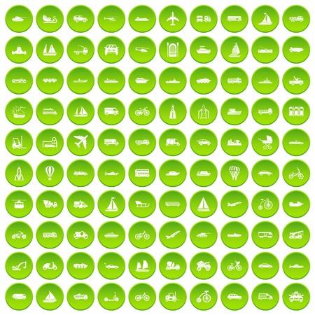100 transportation icons set green circle isolated on white background vector illustration