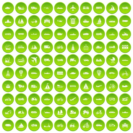 100 transportation icons set green circle isolated on white background vector illustration