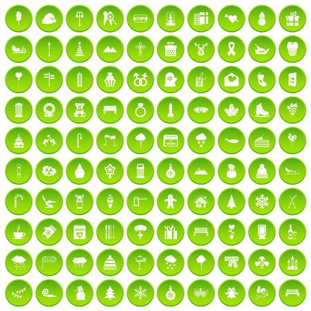 100 winter icons set green circle isolated on white background vector illustration