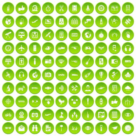100 winter sport icons set green circle isolated on white background vector illustration Illustration