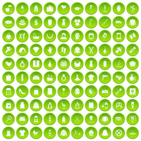 navigator: 100 wireless technology icons set green circle isolated on white background vector illustration