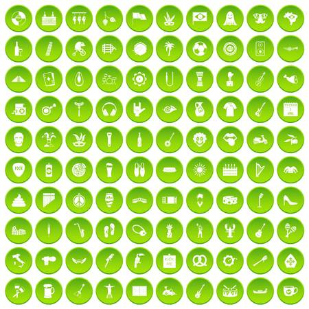100 street festival icons set green circle isolated on white background vector illustration Illustration