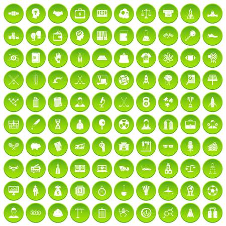 100 success icons set green circle isolated on white background vector illustration Illustration