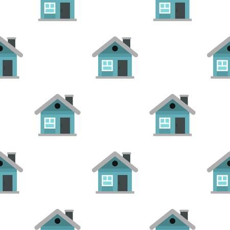 Modèle sans couture de petit chalet bleu dans le style plat répéter illustration vectorielle Vecteurs