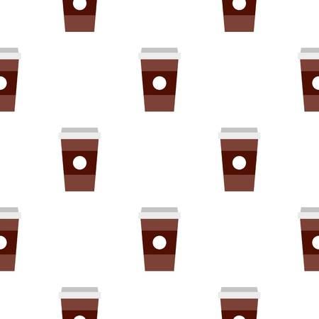 Brown papel taza de café patrón de fondo transparente en estilo plano repetir la ilustración vectorial
