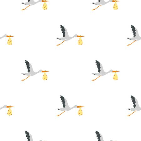 pattern: Flying stork with a bundle pattern seamless background in flat style repeat vector illustration Illustration