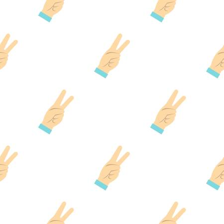 raise the thumb: Two fingers raised up gesture pattern seamless background in flat style repeat vector illustration Illustration